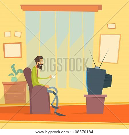 Man Sitting Watching Tv Home Chair Drink Coffee Night