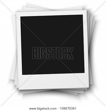 Vintage Photo Frame Set Isolated on White Background. Retro Phot