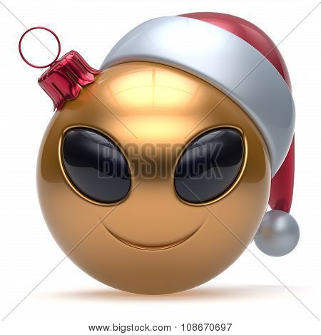 Christmas Ball Happy New Year's Eve Bauble Smiley Alien Face