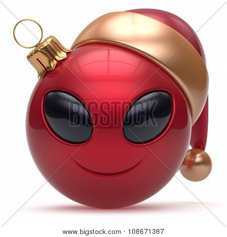 Christmas Ball Happy New Year Bauble Smiley Alien Face Red