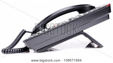 Office Telephone Over White Background