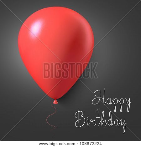 Happy Birthday Vector Gift Card Poster with Balloons. Realistic