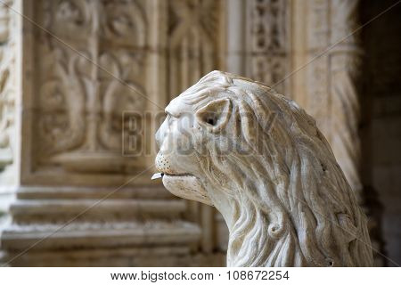 LISBON, PORTUGAL - JUNE 4, 2009: the water lion in the beautiful Jeronimos Monastery in Lisbon Belem