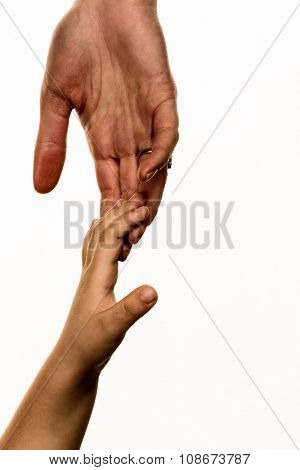 small and large hands, symbolism trust, protect, security