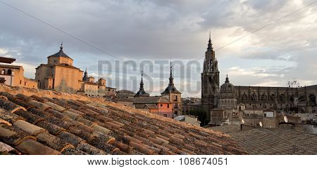 Over The Roofs Of Toledo At Sunset