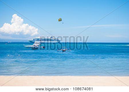 BALI, INDONESIA - APRIL 8: Views of the Sunny sea in Tanjung Benoa on April 8, 2014 in Bali.