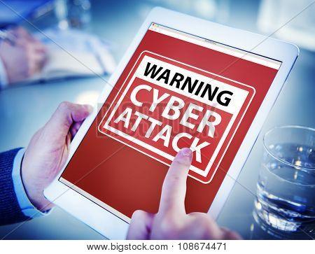 Hands Holding Digital Tablet Cyber Attack