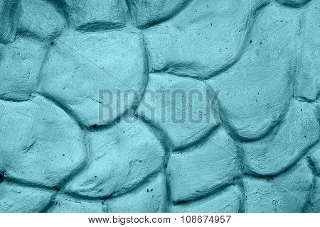 Texture Of Blue Wall Plastered In Form Of Big Stones
