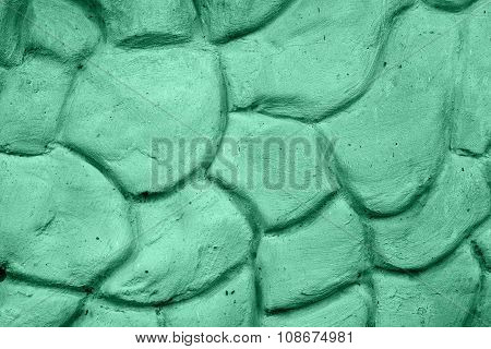 Texture Of Green Wall Plastered In Form Of Big Stones