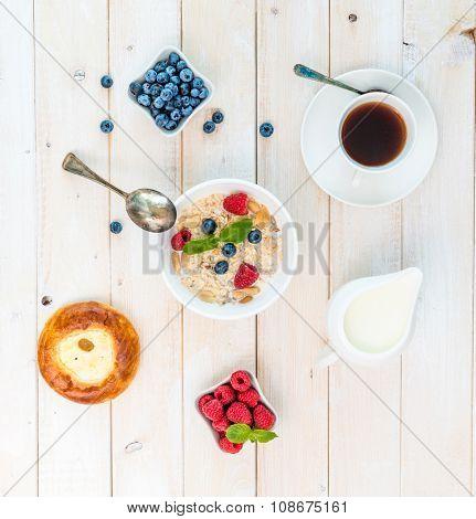 healthy breakfast with muesli top view
