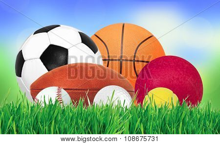 Sports Ball Over Green Grass Over Nature Background