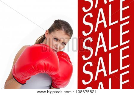 Sports woman boxing against sale advertisement
