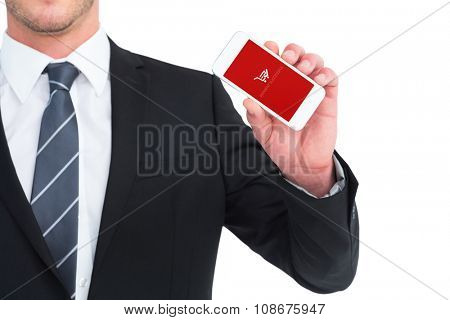 Businessman showing his smartphone screen against payment successful screen