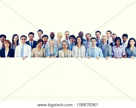 Large Group Business People Holding Board Blank Concept