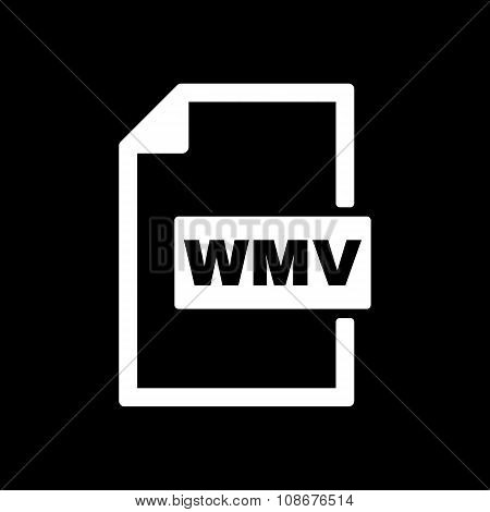 The WMV icon. Video file format symbol. Flat