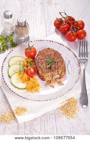 Vegetarian patties, vegan burger and salad