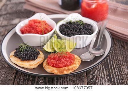 canape, caviar and blini