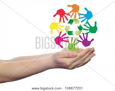 conceptual circle or spiral made of painted human hands with green recycle symbol for ecology isolated on white background