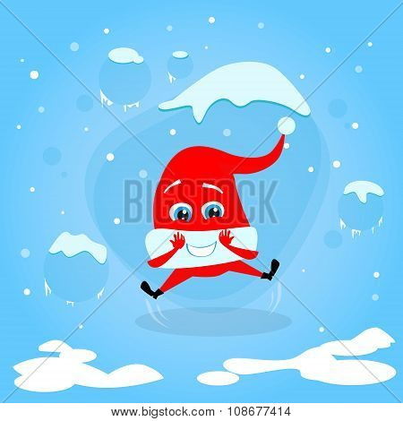 Red Santa Hat Happy Excited Jump Up Laughing Christmas Cartoon