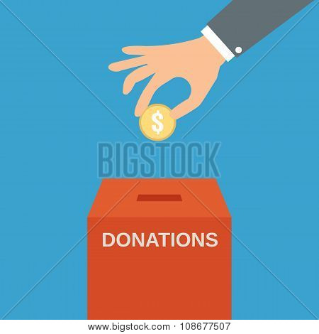 Hand putting coin in the donate box
