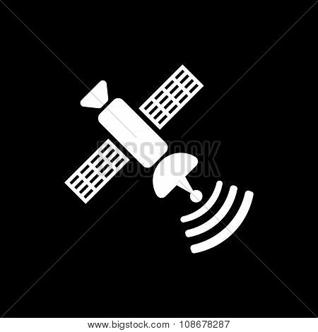 The satellite icon. TV and broadcasting, communication symbol. Flat