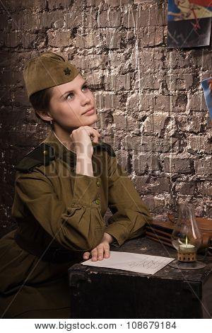 Soviet Female Soldier In Uniform Of World War Ii Dreams