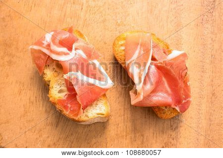 Two Slice Of Spanish Tapas With Jamon