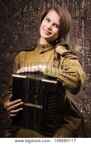 Soviet Female Soldier In Uniform Of World War Ii With An Accordion