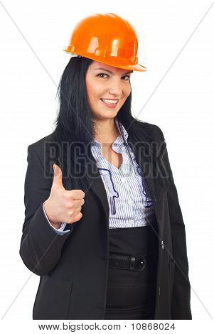 Happy Architect Woman Giving Thumbs