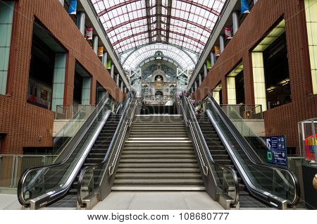 Antwerp, Belgium - May 11, 2015: Passengers In Main Hall Of Antwerp Central Station
