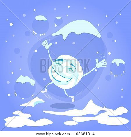 Snowball Happy Excited Jump Up Laughing Cartoon Funny Character