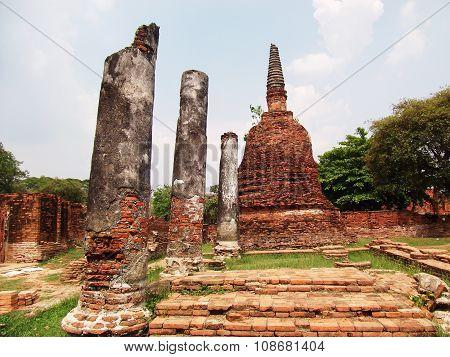 ancient pagoda in Ayutthaya historical park Thailand