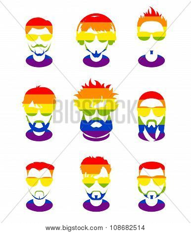 Set Avatars Profile Flat Icons, Different Characters. Lgbt Flag Background