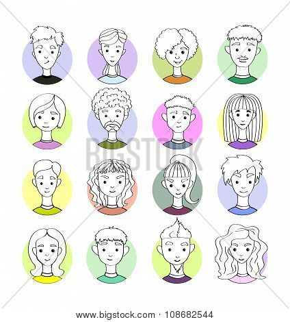 Set 16 Vector Freehand Drawing Images Different People's Faces