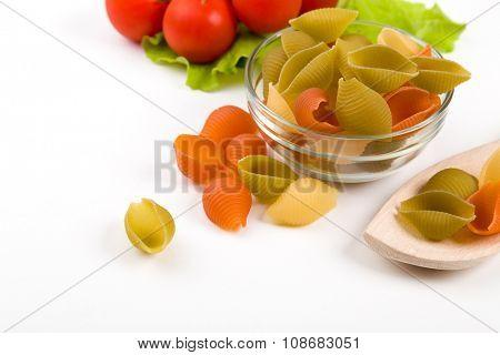 dried italian pasta macaroni isolated on white background.