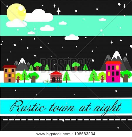 Rustic town at night