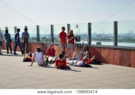 Antwerp, Belgium - May 10, 2015: People Visit Rooftop Of Museum Aan De Stroom In Antwerp