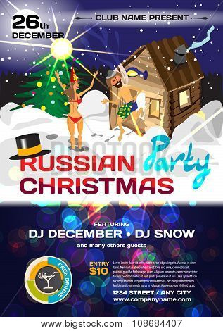 Vector Christmas Party Invitation Russian Style. Vector Template
