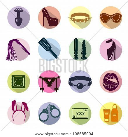 Flat Colored Sex Shop Icon Set, Sex Toys, Bdsm, Vector