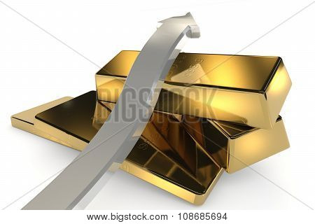 Gold Bars 3D Concept With Arrow