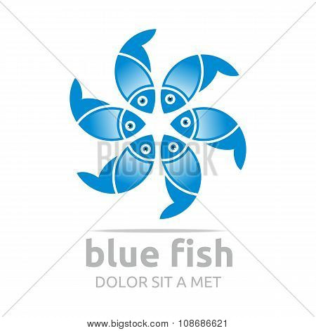 Logo Blue Fish Design Icon