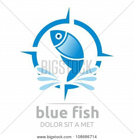 Logo Blue Fish Design Icon