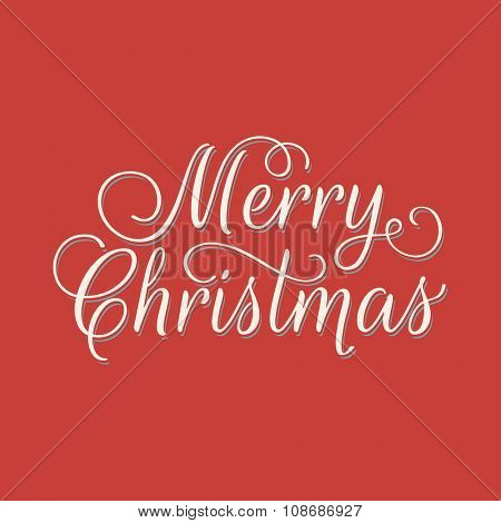 Merry Christmas lettering. Vector retro style illustration on red background.