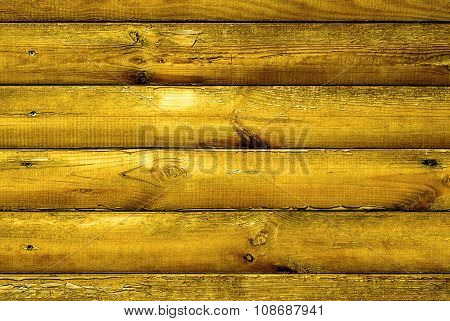 Log House Golden Wood With Hammered A Nails Texture