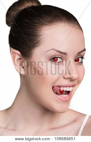 Vampire woman with fangs