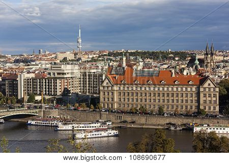 PRAGUE, CZECH REPUBLIC -  SEPTEMBER 05, 2015: Photo of Evening view of Prague Letna hill.