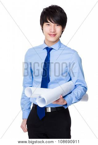 Construction engineer holding with blue print