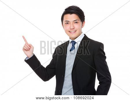Asian Young Businessman with finger up