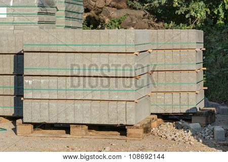 Paving Stones On A Wooden Pallet.