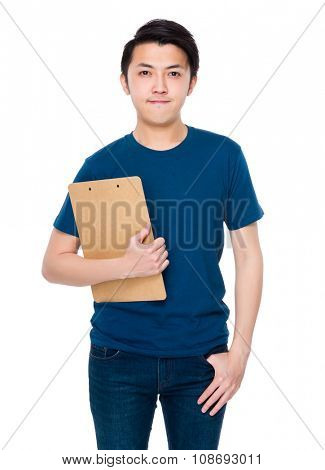 Asian Young man hold with clipboard